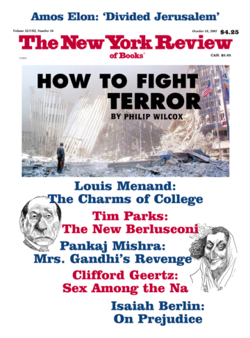Image of the October 18, 2001 issue cover.