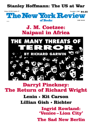 Image of the November 1, 2001 issue cover.