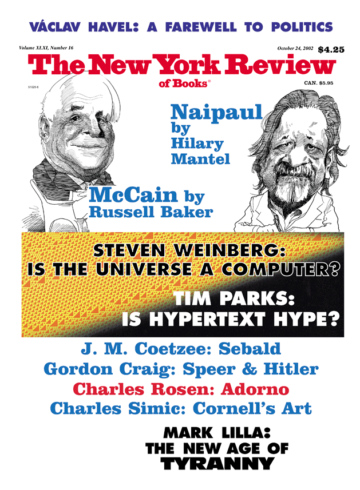 Image of the October 24, 2002 issue cover.