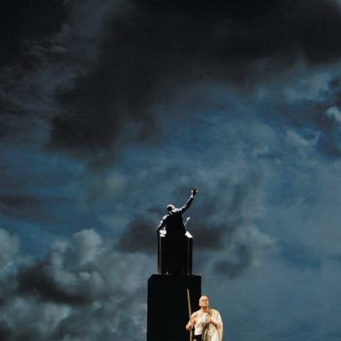 Richard Croft as Gandhi and Charles Folorunsho as Martin Luther King Jr. in Act III, 'King,' of Philip Glass's Satyagraha at the Metropolitan Opera, New York City, April–May 2008