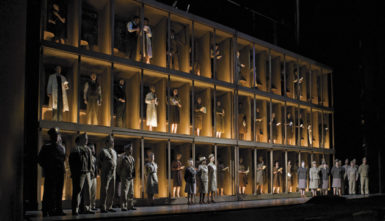 The Manhattan Project laboratory and staff in Los Alamos, New Mexico, in Act 1 of John Adams's Doctor Atomic, directed by Penny Woolcock at the Metropolitan Opera, New York City, October 2008