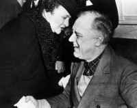 Franklin Delano Roosevelt and Frances Perkins, secretary of labor during Roosevelt's administration and the first woman ever to serve in the US cabinet, circa 1943