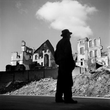 Ruins of houses destroyed during World War II, Frankfurt am Main, Germany, 1946