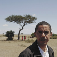 Barack Obama at the Masai Mara game reserve in Kenya, August 2006; photograph by Gary Knight