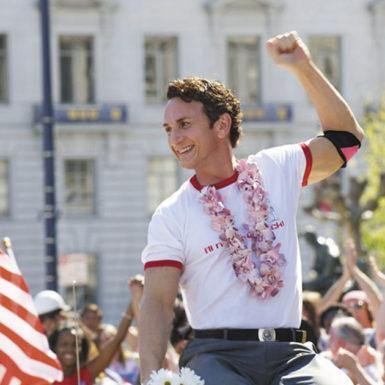 Sean Penn as Harvey Milk in Gus Van Sant's biographical film Milk, 2008
