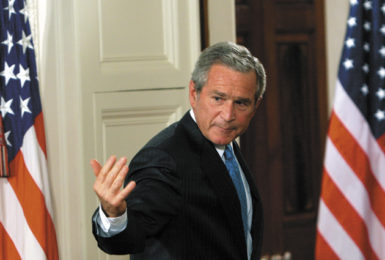 President George W. Bush in the East Room of the White House, after delivering a speech on the 'War on Terror,' September 6, 2006. In the speech he said that 'the United States does not torture'; in the same speech, he acknowledged the existence of secret CIA prisons and an 'alternative set of procedures' used to interrogate prisoners.