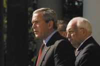 President George W. Bush making a statement on the 'War on Terror,' accompanied by Vice President Dick Cheney and Secretary of Defense Donald Rumsfeld, Washington, D.C., September 28, 2005
