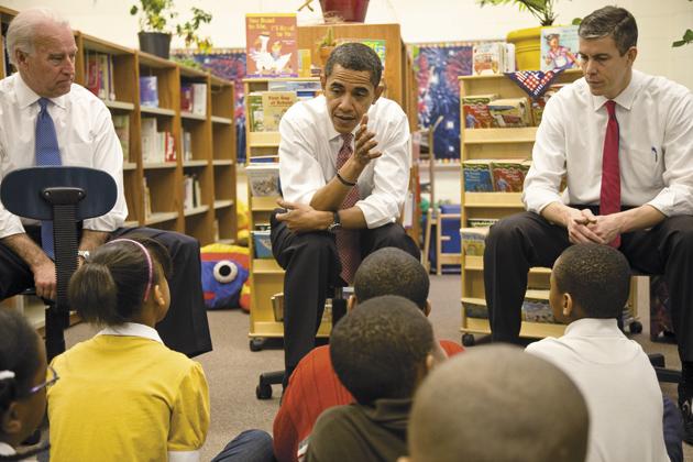 Barack Obama, Joe Biden, and Arne Duncan, Obama's secretary of education, with elementary school children at Dodge Renaissance Academy, Chicago, December 16, 2008