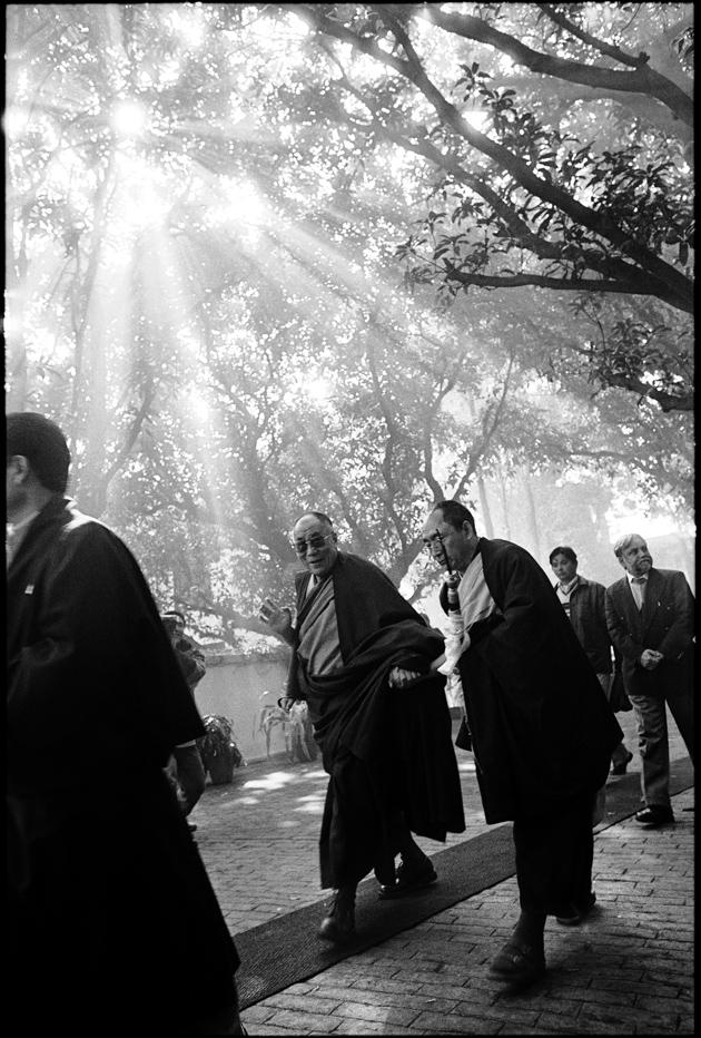 The Dalai Lama at the Central Institute of Higher Tibetan Studies, Sarnath, Uttar Pradesh, India, January 23, 2003; photograph by Manuel Bauer