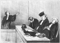 'Yes, they would plunder this orphan...'; lithograph by Honoré Daumier from his series <i>Lawyers and Justice</i>, 1845