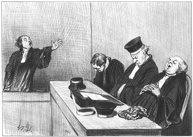 'Yes, they would plunder this orphan...'; lithograph by Honoré Daumier from his series Lawyers and Justice, 1845