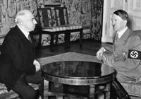 Emil Hácha and Adolf Hitler at Hradcany Castle, Prague, March 16, 1939
