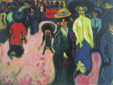 Ernst Ludwig Kirchner: Street, Dresden, 1908–1919. According to Richard Dorment in this review, 'Kirchner led the way as a painter of the urban scene' and was 'by far the most important artist' connected with Die Brücke.