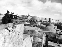 A British soldier at a military strongpoint overlooking Jerusalem, January 18, 1948