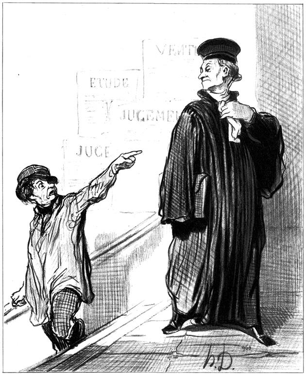 'A dissatisfied plaintiff'; lithograph by Honoré Daumier