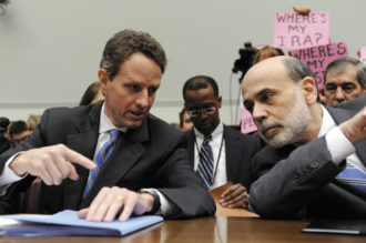 Treasury Secretary Timothy Geithner and Federal Reserve Chairman Ben Bernanke at a congressional hearing on oversight of the federal government's intervention at AIG, Washington, D.C., March 24, 2009