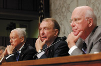 Senate Judiciary Committee members Orrin Hatch, Arlen Specter, and Patrick Leahy at a hearing on the legal rights of detainees and enemy combatants, Washington, D.C., July 11, 2006