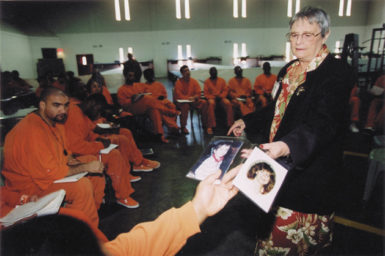 Jean O'Hara, founder of the group Survivors of Murder Victims, talking to inmates about her murdered daughter and grandson during a victim impact class, one of the programs in the Resolve to Stop the Violence Project (RSVP) at the San Francisco County Jail in San Bruno, circa 2003
