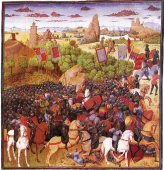 The Battle of Crécy in 1346, when King Philip VI of France was defeated by King Edward III of England; from Les Grandes Chroniques de France, fifteenth century