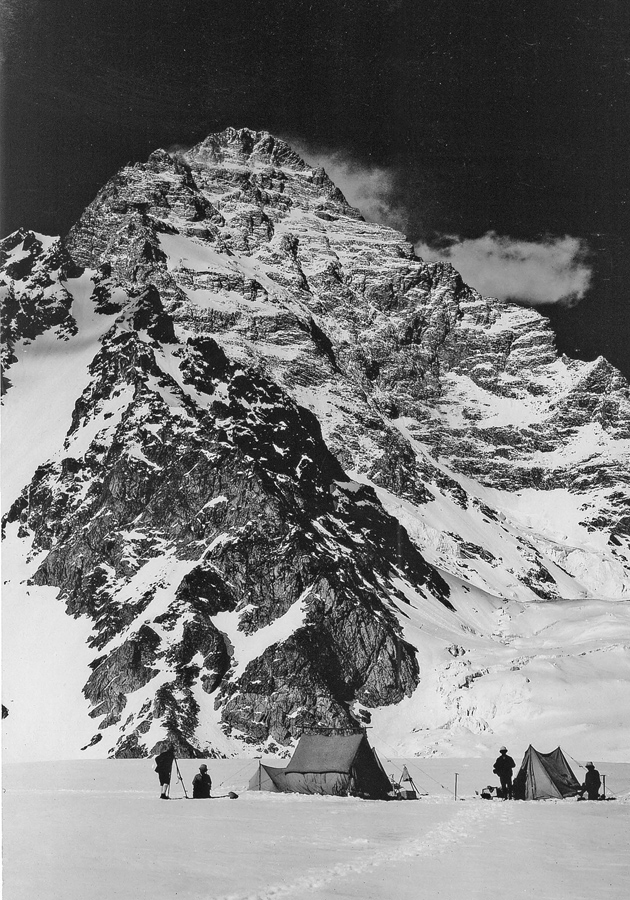 'The grandest of the early Himalayan expeditions, and also the least eccentric': the camp of Luigi Amadeo, Duke of the Abruzzi, and his team below the west face of K2, 1909; photograph by Vittorio Sella, 'one of the greatest of all mountain photographers,' from Maurice Isserman and Stewart Weaver's Fallen Giants