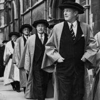 From right, Harold Macmillan, Hugh Gaitskell, Alan Herbert, 