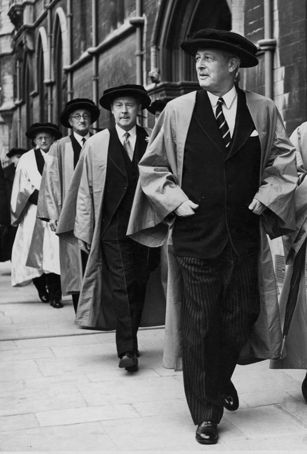 From right, Harold Macmillan, Hugh Gaitskell, Alan Herbert, and Dmitry Shostakovich, Oxford, England, June 1958