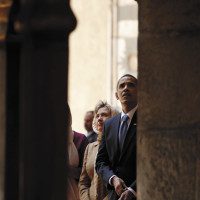 Barack Obama and Hillary Clinton at the Sultan Hassan Mosque, Cairo, June 4, 2009