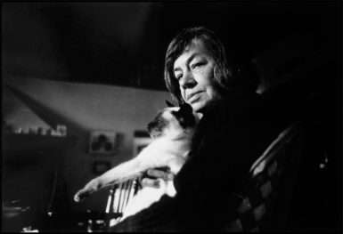 Patricia Highsmith at her house in Aurigeno, Switzerland, April 1984; photograph by Gérard Rondeau from his 'One Hundred Portraits of Famous Authors and Artists,' a recent exhibition at the Cultural Services of the French Embassy, New York City