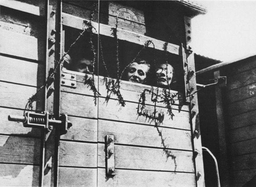 Women in a cattle car en route to a death camp