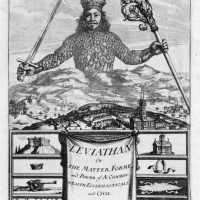 The frontispiece to Leviathan, which 'graphically portrays a crowned sovereign as the literal embodiment of the people, who have united to enthrone him'