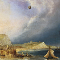 The first balloon crossing of the English Channel, January 7, 1785; detail from an oil painting by E.W. Cocks, circa 1840