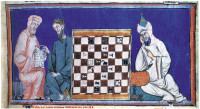 A Christian consulting an Arabic text during a chess game with a Muslim, in an illumination from the Libro de ajedrez, dados y tables (Book of Chess, Dice, and Tables) of Alfonso X the Learned, 1283; from The Arts of Intimacy
