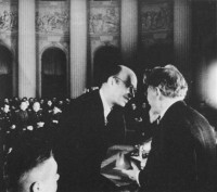 Sergei Prokofiev receiving the Order of the Red Banner of Labor from Mikhail Kalinin Moscow, 1943; from Simon Morrison's The People's Artist: Prokofiev's Soviet Years