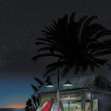 "'Eternal Summer: A ""Retired"" Caddy Hearse Greets Daybreak at a Beach Surf Shop'; illustration by Darshan Zenith, from the cover of Thomas Pynchon's Inherent Vice"