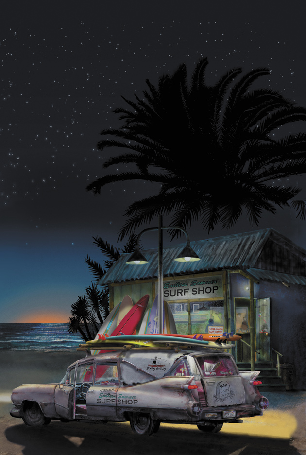 """'Eternal Summer: A """"Retired"""" Caddy Hearse Greets Daybreak at a Beach Surf Shop'; illustration by Darshan Zenith, from the cover of Thomas Pynchon's Inherent Vice"""