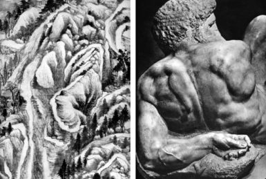 At left,  a detail from Tung Ch'i-Ch'ang's painting The Ch'ing Pure Mountain in the Manner of Tung Yüan, 1617; at right, the back of Michelangelo's statueDay, circa 1530. Ben-Ami Scharfstein compares these two images in Art Without Borders.