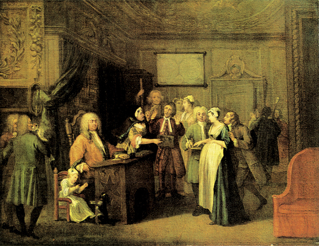 William Hogarth: The Denunciation; or, A Woman Swearing a Child to a Grave Citizen, 1729. In The Ends of Life, Keith Thomas writes of this painting, 'Masculine honour was vulnerable to malicious paternity suits. [Here] a pregnant girl is being coached by her lover into swearing before a magistrate that a respectable elderly citizen (apparently a Dissenting clergyman) is the father of her child.'