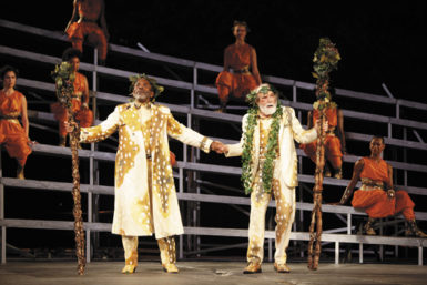 André De Shields as Teiresias and George Bartenieff as Cadmus in the Public Theater's production of Euripides' Bacchae, directed by JoAnne Akalaitis, at the Delacorte Theater in Central Park