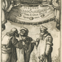 Aristotle, Ptolemy, and Copernicus; illustration by Stefan Della Bella from the frontispiece of Dialogo di Galileo Galilei (1632), on view in the exhibition 'Other Worlds: Rare Astronomical Works,' at the Harry Ransom Center of the University of Texas Austin through January 3, 2010