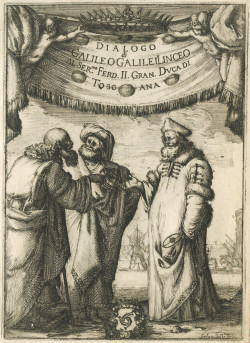 Aristotle, Ptolemy, and Copernicus; illustration by Stefan Della Bella from the frontispiece of <i>Dialogo di Galileo Galilei</i> (1632), on view in the exhibition 'Other Worlds: Rare Astronomical Works,' at the Harry Ransom Center of the University of Texas Austin through January 3, 2010