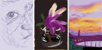 Three images by David Hockney—a self-portrait, a still life, and a summer dawn—made with the Brushes application on his iPhone, 2009