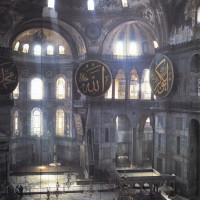 The interior of Hagia Sophia, Istanbul; from J.B. Bullen's Byzantium Rediscovered