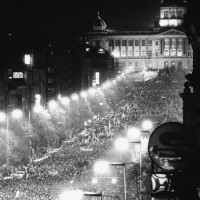 Anti-government demonstrators in Wenceslas Square, Prague, November 20, 1989
