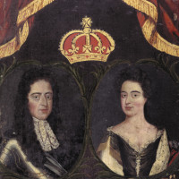 William III and Mary II, from the Guild Book of Barber Surgeons of York. The portrait