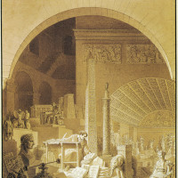 Benjamin Zix: Allegorical Portrait of Vivant Denon, 1811. Denon, whom Napoleon appointed the first director of French museums, is depicted at the entrance to the Louvre's Salle de Diane, surrounded by, among other objects, the Vendôme Column; an obelisk planned for the Pont Neuf; the elephant fountain planned for the Place de la Bastille (see page 32); and two statues of Napoleon, a bust and a seated figure (left).