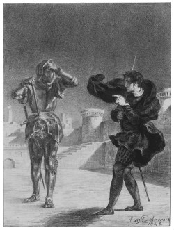 Eugène Delacroix: <i>The Phantom on the Terrace</i>, from a series of 'Hamlet' lithographs, 1843