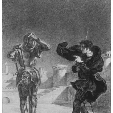 Eugène Delacroix: The Phantom on the Terrace, from a series of 'Hamlet' lithographs, 1843