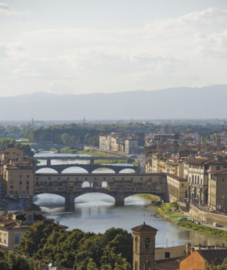 The view of Ponte Vecchio, from the Piazzale Michelangelo, Florence