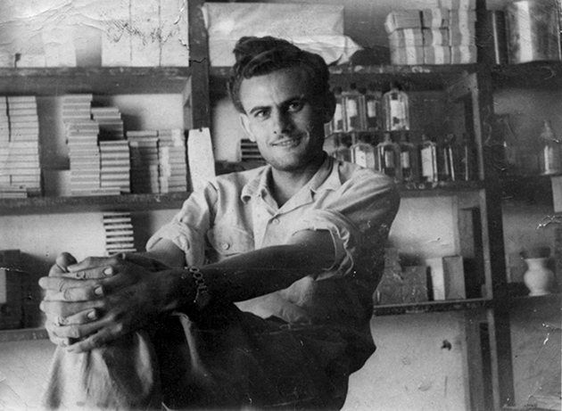 Taha Muhammad Ali at his souvenir shop, Nazareth, 1950s; photograph from Adina Hoffman's My Happiness Bears No Relation to Happiness