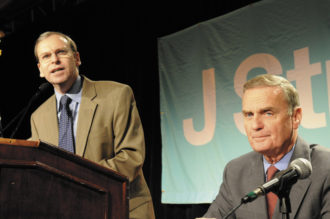 Jeremy Ben-Ami, the executive director of J Street, and National Security Adviser General James Jones at the J Street Conference in Washington, D.C., October 27, 2009